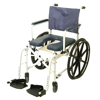 "18"" Wide Rehab Shower Commode Wheelchair - 300 Lbs Capacity"